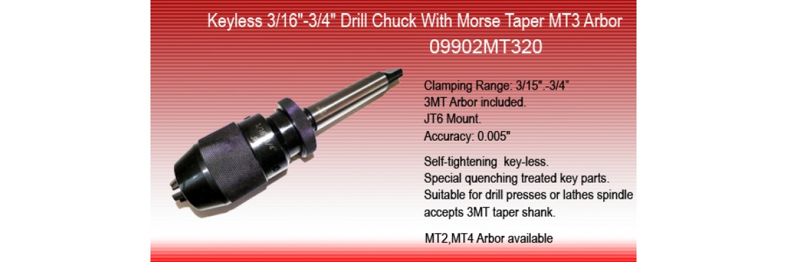 Drill chuck with MT3 arbor09902MT320