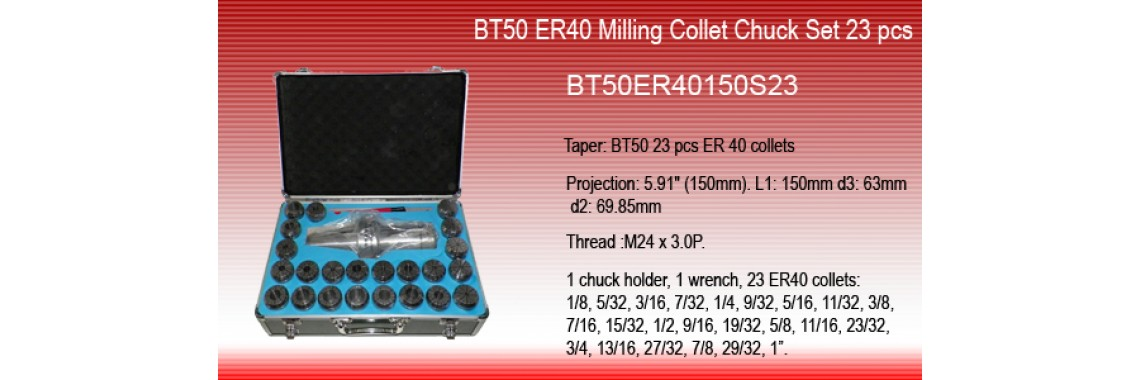 BT50 ER40 MILLING COLLET CHUCK SET 23 PCs