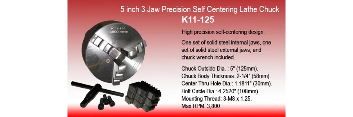 5 Inch 3 Jaw Precision Self Centering Lathe Chuck K11-125