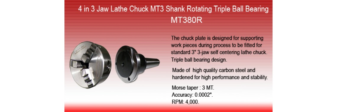 "3"" 3 Jaw Self Centering Chuck  MT3 Shank Rotating Plate"