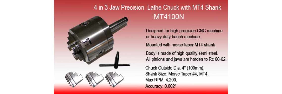 4 Inch 3 Jaw Precision Self Centering Lathe Chuck with MT4 Shank